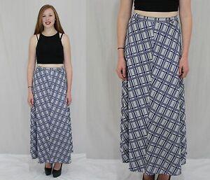 198c8abe Vintage 70s Blue Plaid HIGH Waist A Line MAXI Dress Skirt Hippie ...