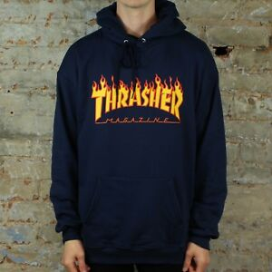 fd6ec8f41ab2 Image is loading Thrasher-Flame-Logo-Pullover-Hooded-Sweatshirt-Navy-in-