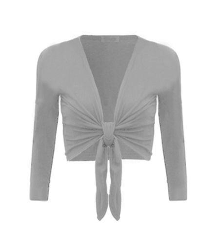 Womens Tie Knot Shrug Short Ladies Crop Cardigan Wrap Bolero Top lot Size S,M,L