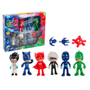 X6 Set Pj Masks Catboy Owlette Gekko Cloak Aktion Figuren Kinder Toy