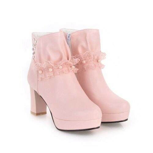 Ladies Pearls Block Heel Platform Laces Ankle Slouch Boots Side Zip Shoes BB