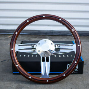 14-034-Inch-Polished-amp-Wood-Steering-Wheel-with-Billet-Horn-6-Hole-C10-Camaro