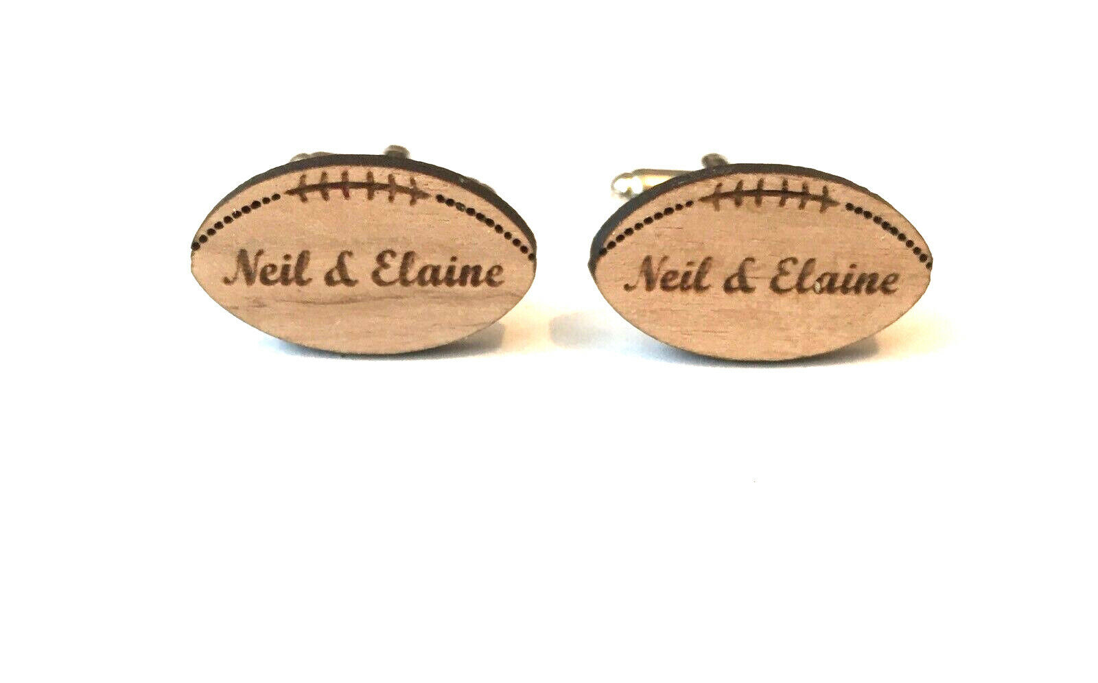 Personalised Mens Rugby Ball Engraved Cufflinks In Walnut Wood With Gift Box