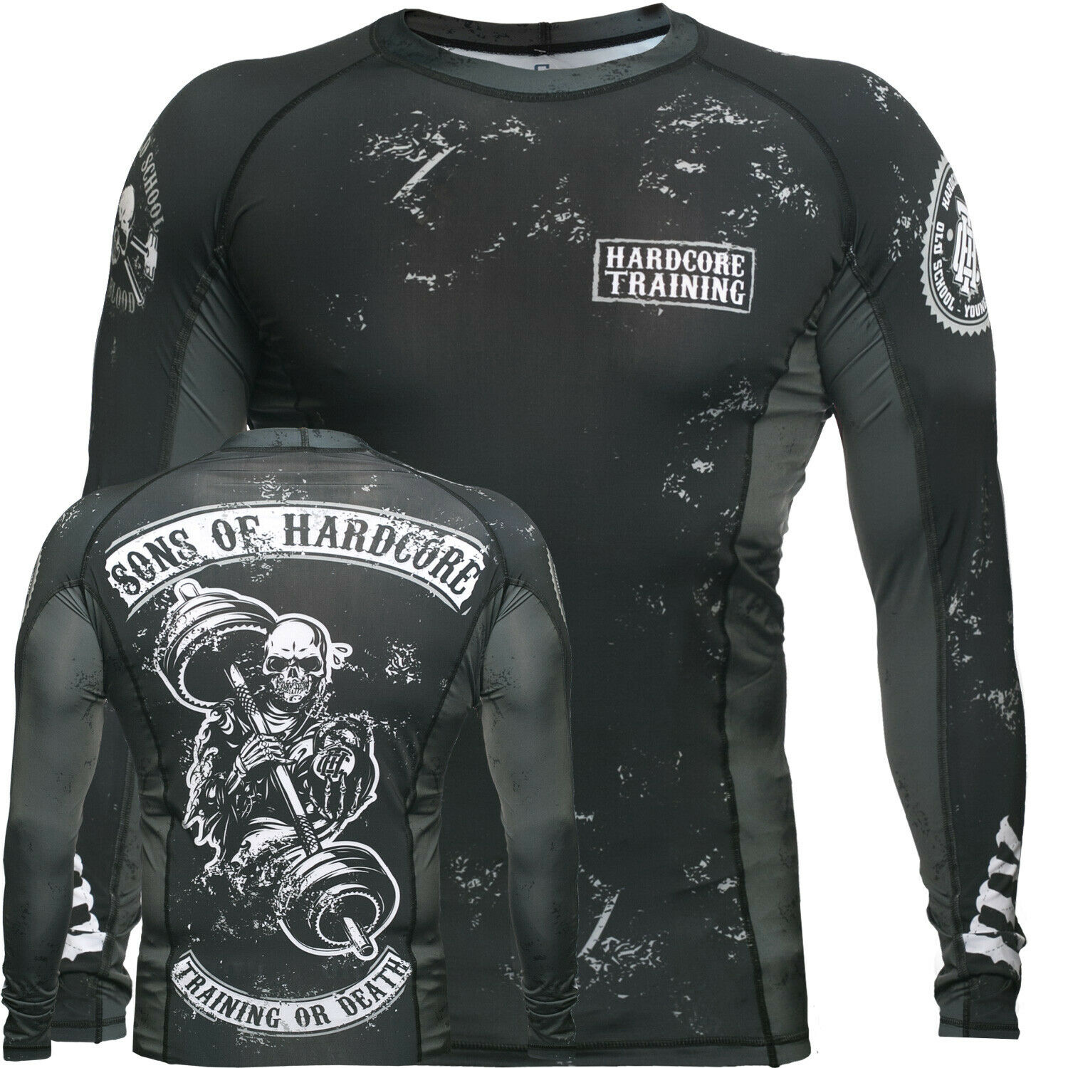 Rash Guard  Men's HCT Sons Of Hardcore Base Layer Compression Shirt MMA BJJ UFC  60% off