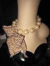 Betsey Johnson Pinkina Toc Big Pearl Leo Ribbon Frontal Necklace