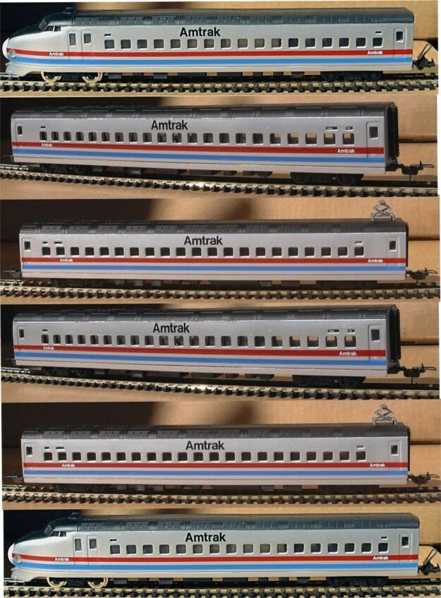 HO SCALE TRAINS 6 AMTRAK HIGH SPEED PASSENGER CARS DUMMY LOCOS NOT POWERED