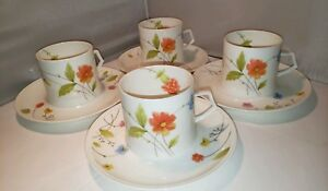 Mikasa-JUST-FLOWERS-Cup-and-Saucer-SET-of-FOUR-Orange-Wildflowers