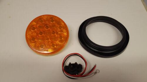 "FOUR 4/"" Round 12 Diode Amber LED Light Kit Stop Turn Tail Light TecNiq"