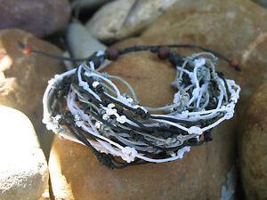 Black Silver Beaded Wax Vine Tribal Surf Hippie Bo-Ho Vintage Bracelet