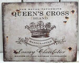 Blechschild-Queen-s-cross-Luxury-Chocolatier-Krone-Schild-Metall-creme-Blech