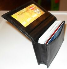 Genuine Leather Expandable Credit Card ID Business Card Holder Wallet Black New