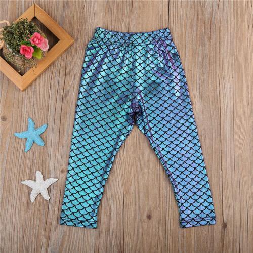 NEW Girls Mermaid Blue Shimmer Capri Leggings 2T 3T 4T 5T