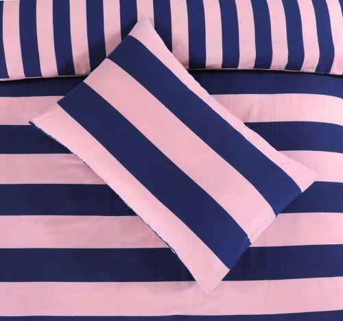 NightComfort Pink /& Navy Bold Striped Duvet Cover /& Pillows Stripe Bedding Set