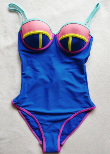 BNWT NEXT swimsuit tummy control bright cobalt blue colour block underwired cup