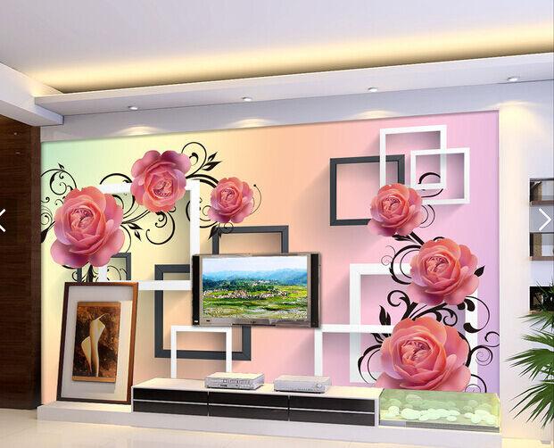 3D pink, white, black 098 Fototapeten Wandbild Fototapete BildTapete Familie