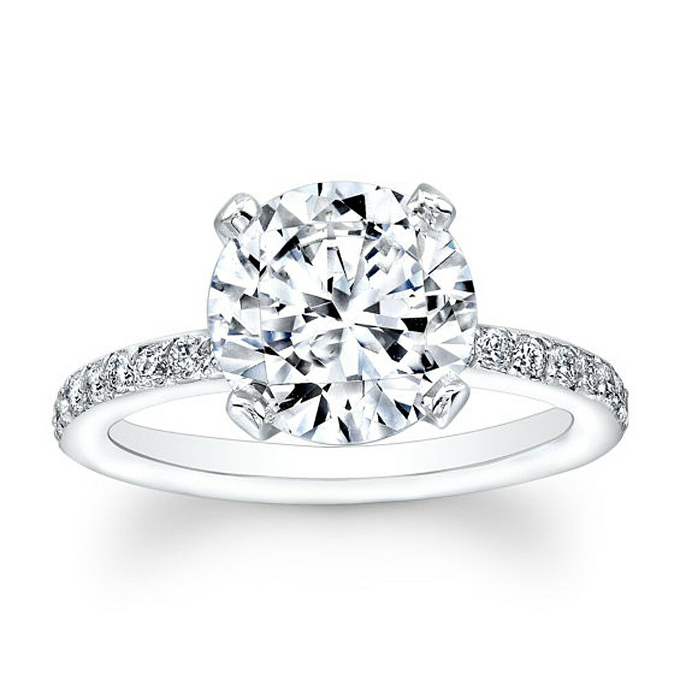 2.30 Ct Moissanite Stone Engagement Ring 14K Solid White gold Size 8 7 6