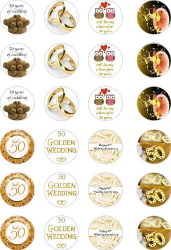 a Gaufrette tasse de papier glaçages pour gâteau 24x prédécoupées d/'or 50e anniversaire de mariage riz