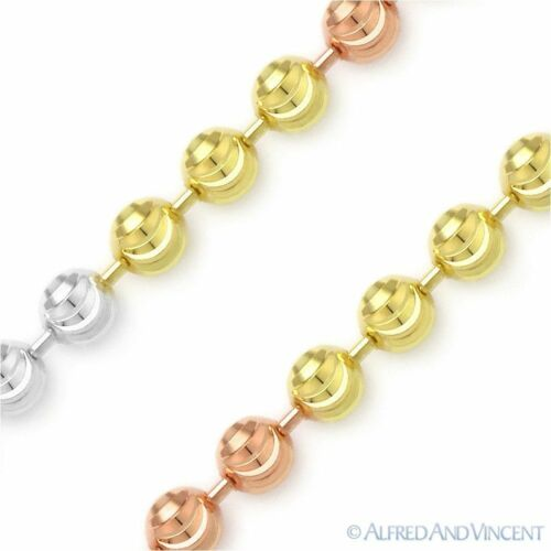 3mm Moon-Cut Ball Bead Link Tri-Tone .925 Sterling Silver Italian Chain Necklace