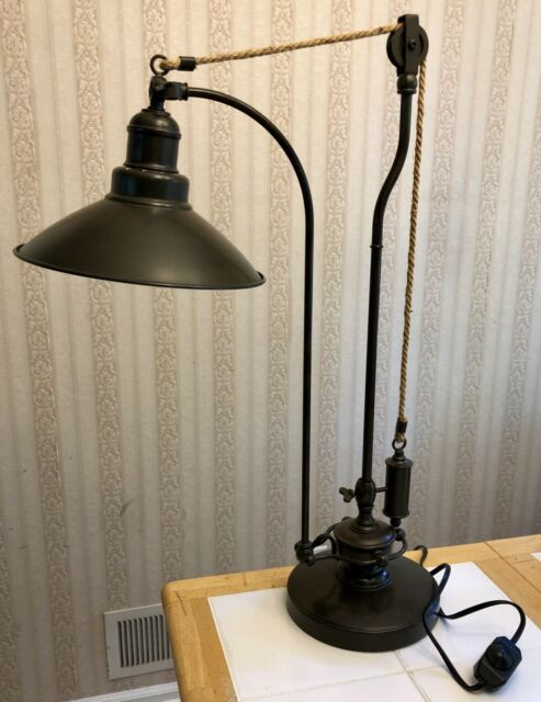 "28"" Pottery Barn Glendale Pulley Task Table Lamp Antique Bronze Adjustable"