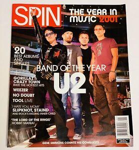 Spin Magazine Jan. 2002 U2 BONO Cover~Gorillaz~Weezee~Slipknot~Staind~LOTR MANIA