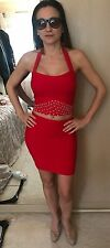 Sexy Red Bandage Skirt And Top Diamonte Detail Handmade Size 8
