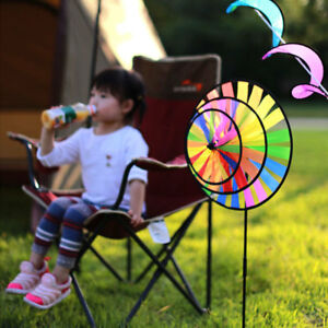 Triple-Wheel-Spinner-Rainbow-w-Stake-Windmill-Wind-Catcher-Garden-Yard-Decor