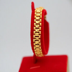 Men-039-s-Chunky-Link-Chain-Bracelet-18K-Gold-Plated-Cuff-Bangle-Wristband-Jewelry