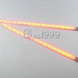 2x-Amber-Yellow-30cm-32-Leds-3528-1210-SMD-LED-Strip-Light-Flash-Waterproof-12V