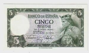 Spagna-Spain-5-pesetas-1954-FDS-UNC-Pick-146-lotto-98