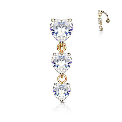 14G Surgical Steel belly ring with Clear heart CZ prong set gems