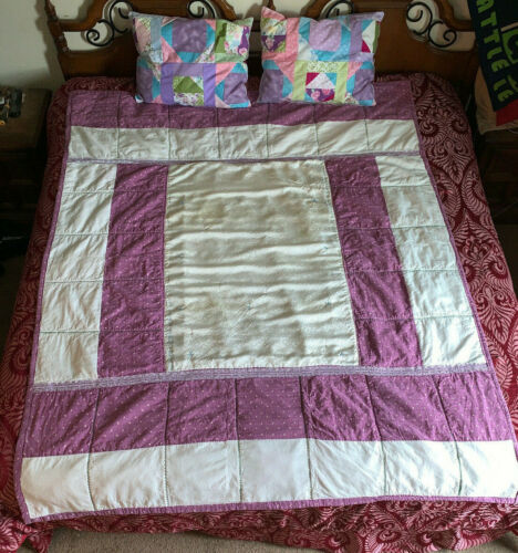 Handcrafted Reversible Unicorn Quilt and Two Matching Decorative Pillows