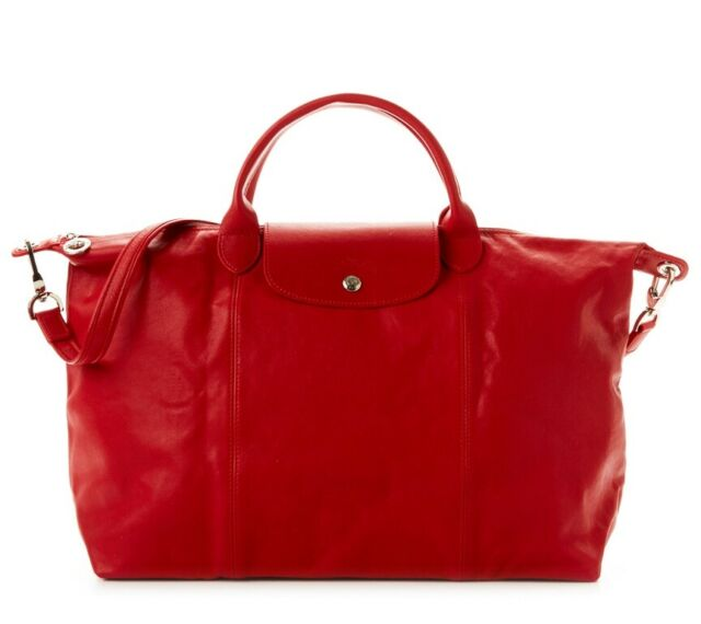 NEW LONGCHAMP Le Pliage CUIR Large Tote Leather Satchel Bag Cherry Red  AUTHENTIC 609097be35b39