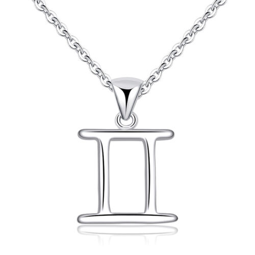 Zodiac Signs 12 Constellations Silver Plated Pendant Necklace for Women Girl