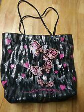 Ed Hardy Bling Bling Sequin Tote Bag with Butterflies&Hearts. Black and silver