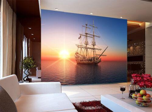 Yacht Sailing Boat Sea Sunrise 3D Full Wall Mural Photo Wallpaper Home Decal Kid