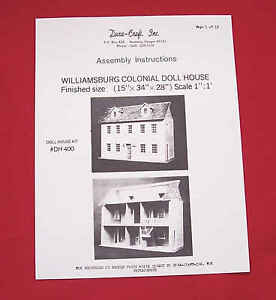 Dura-Craft *WILLIAMSBURG COLONIAL* DH-400 Dollhouse Instructions