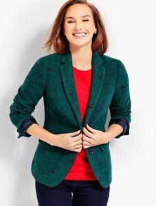 NEW $179 TALBOTS Green Aberdeen Wool Embroidered Dog Suit,Jacket,Blazer Sz 12