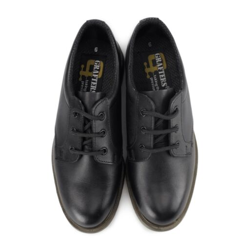 Grafters Mens Leather Air Cushioned Heat Resistant Uniform Office Shoes Black