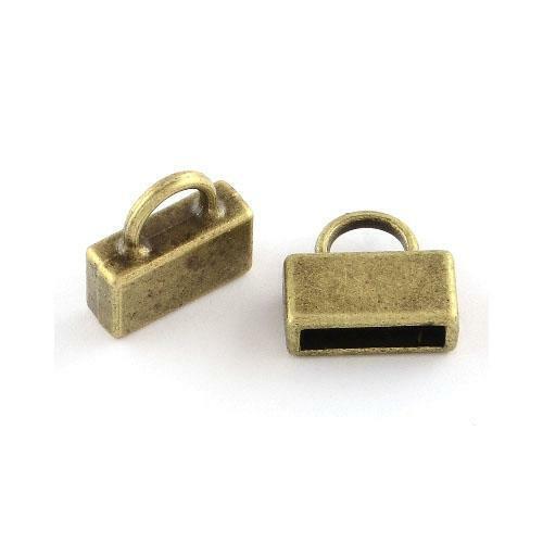 Rectángulo tibetano casquillos de extremo Bronce Antiguo 2.5 X 10.5mm 20 PC resultados Crafts