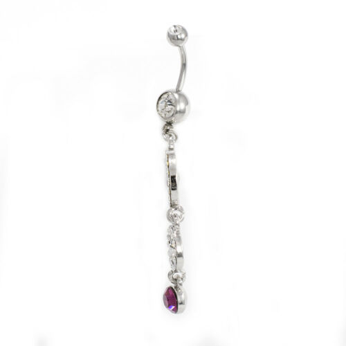 Belly Button Ring Double Circle Navel Ring Steel Dangle Purple CZ Gems 14G 10mm