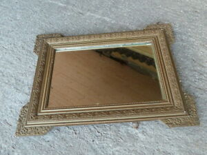 ancien miroir des ann es 1950 joli cadre en bois et platre sculpt s ebay. Black Bedroom Furniture Sets. Home Design Ideas