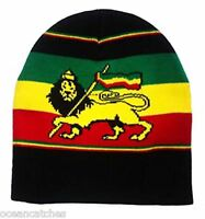 Rasta Reggae Colors Lion Design Comfy Stretch Knit Hat Cap Beanie