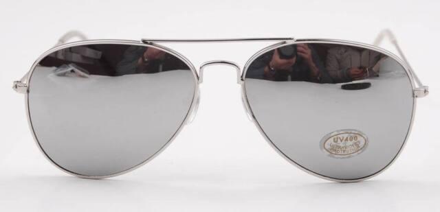 Retro Classic Aviator Silver Metal frame/Mirror Lens 80sPilot Sunnies Sunglasses