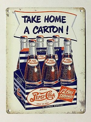 Pepsi Cola Take Home a Carton SML - Tin Metal Wall Sign