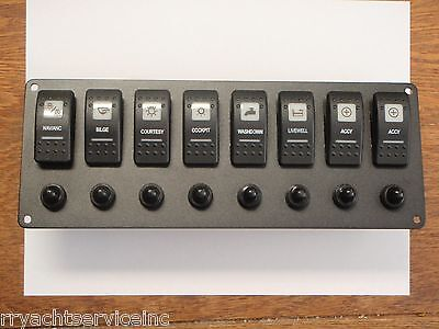 SWITCH PANEL BOAT CARLING V1D1 8 SWITCHES WIRED PSC-81-BK BLACK 1 RED LENS