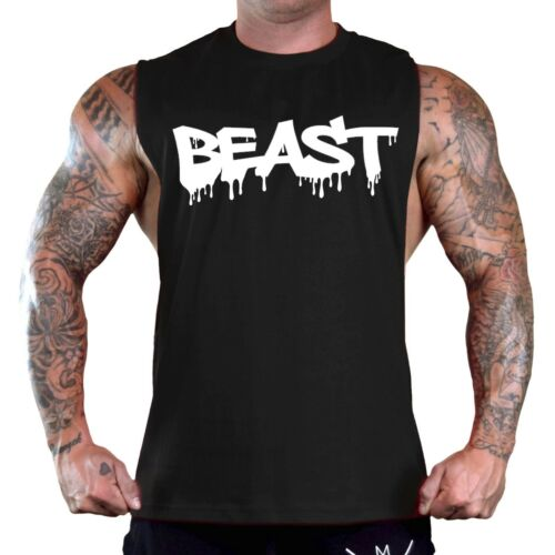 Men/'s Beast Dripping Black T-Shirt Tank Top Gym Workout Fitness Muscle Tee V169