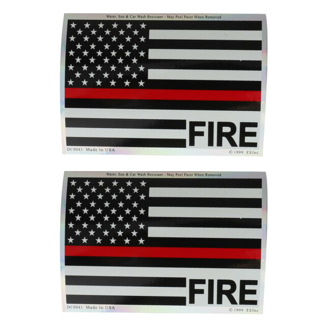 Made in USA Thin Red Line Fire USA Flag Patriotic Stickers 2 PK- FREE SHIPPING