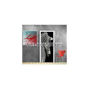 Stickers-porte-trompe-l-039-oeil-deco-Zebre-ref-819-819