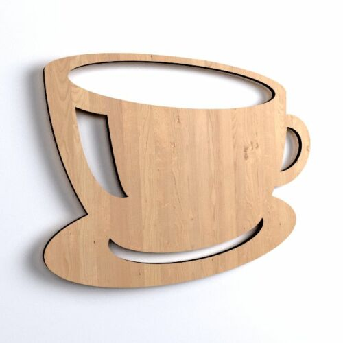 10x Wooden Tea Cup Coffee Restaurant Shape Plain Blank Hanging Decoration V38
