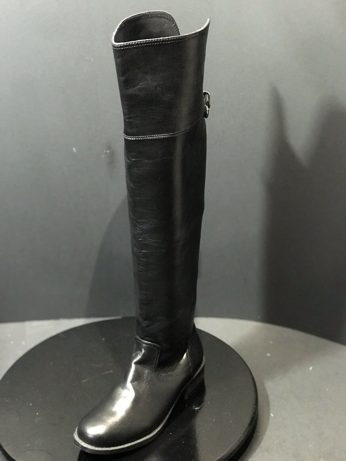 NUEVO Zigi SOHO Octavia sobre la rodilla botas de piel sintética negro tamaño nos 6 M Nuevo